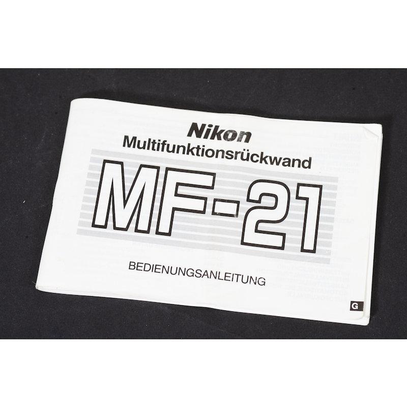Nikon Anleitung Multifunktionsrückwand MF-21 F-801s