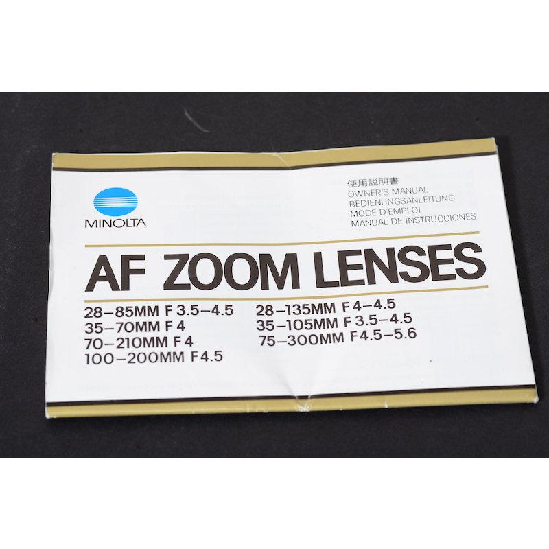 Minolta Anleitung AF Zoom Lenses