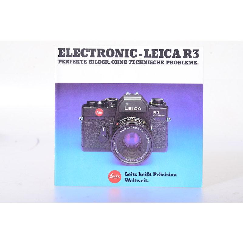 Leitz Prospekt Leica R3 Electronic - Perfekte Bilder. Ohne technische Probleme.