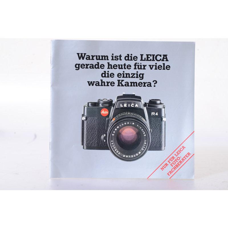 Leitz Prospekt Leica R4 - Warum ist die Leica gerade heute für viele die einzig wahre Kamera?
