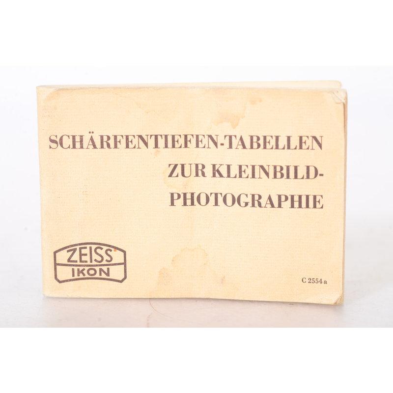 Zeiss-Ikon Schärfentiefen-Tabellen zur Kleinbild-Photographie