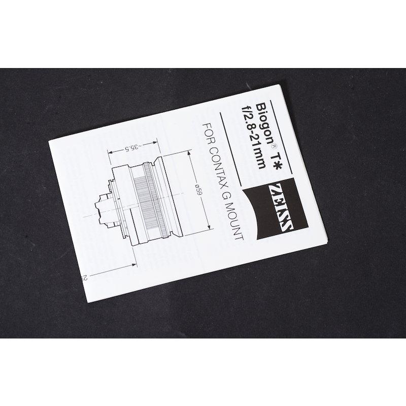 Contax Datenblatt Biogon 2,8/21 T* G1/G2