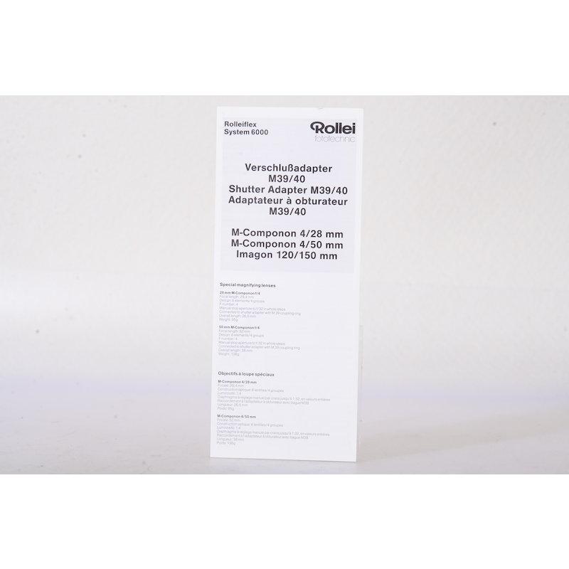 Rollei Anleitung Verschlußadapter M39/40