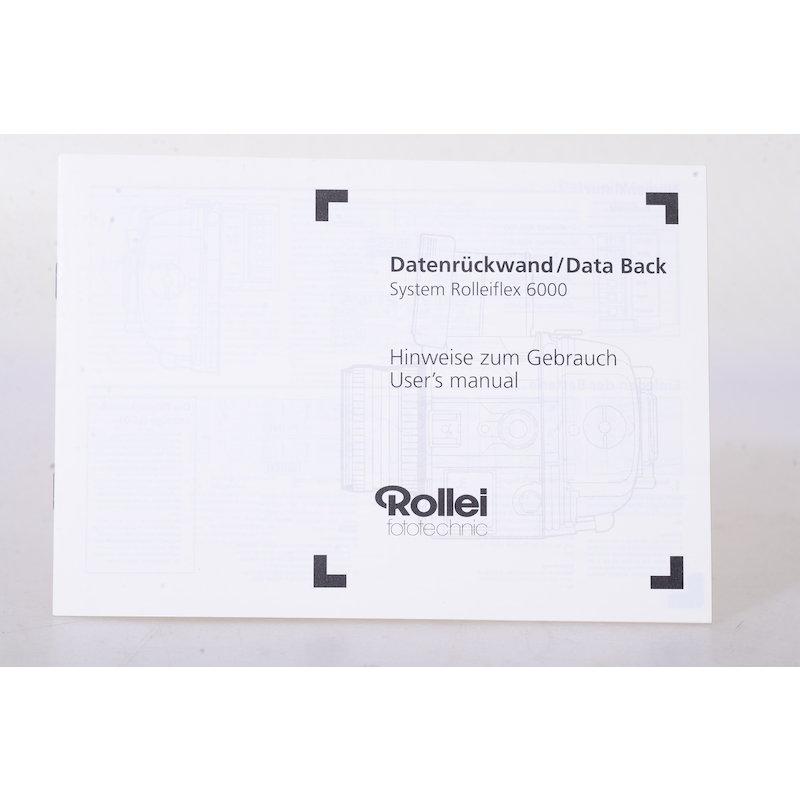 Rollei Anleitung Datenrückwand System Rolleiflex 6000