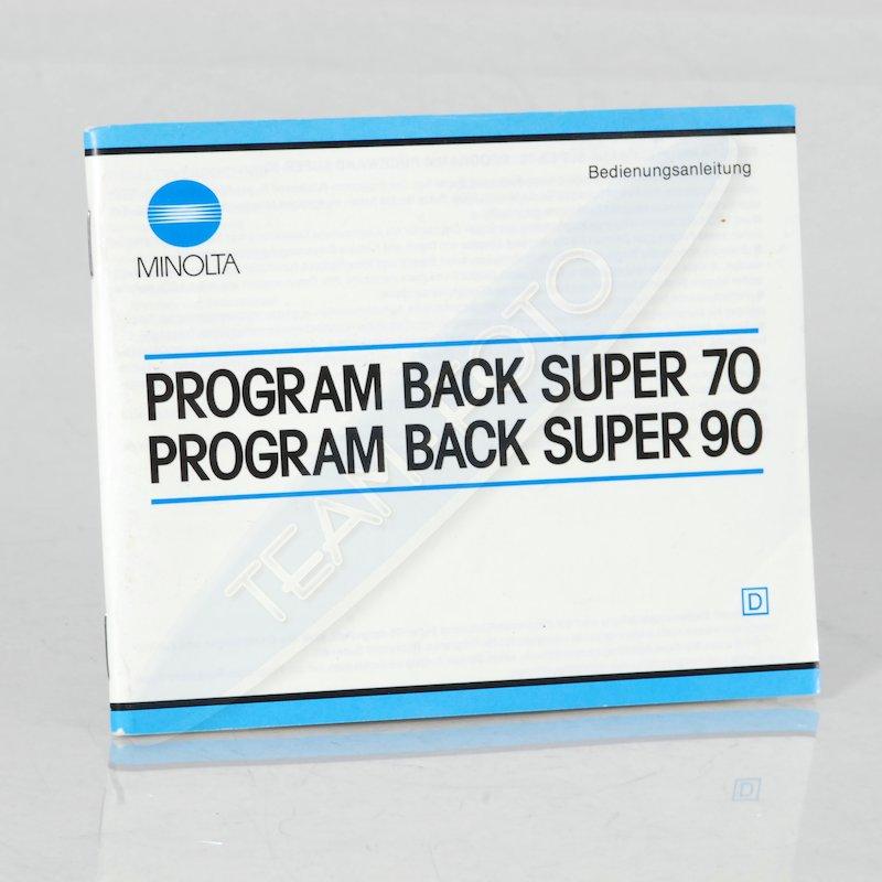 Minolta Anleitung Programmrückwand Super 70/90