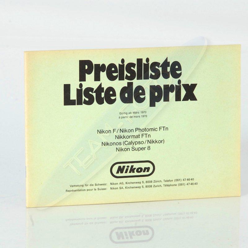 Nikon Preisliste Schweiz März 1970