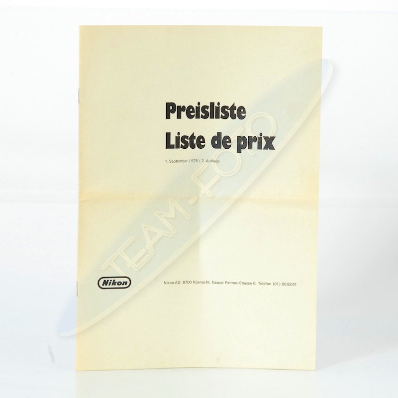 Nikon Preisliste Schweiz 01.09.1975