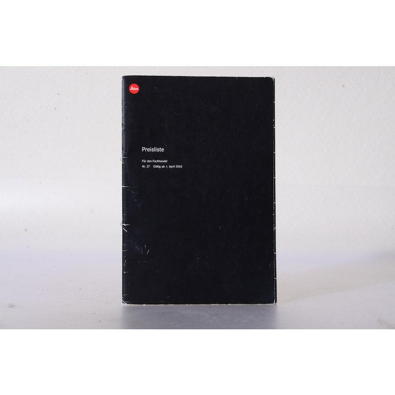Leica Preisliste 27 2003