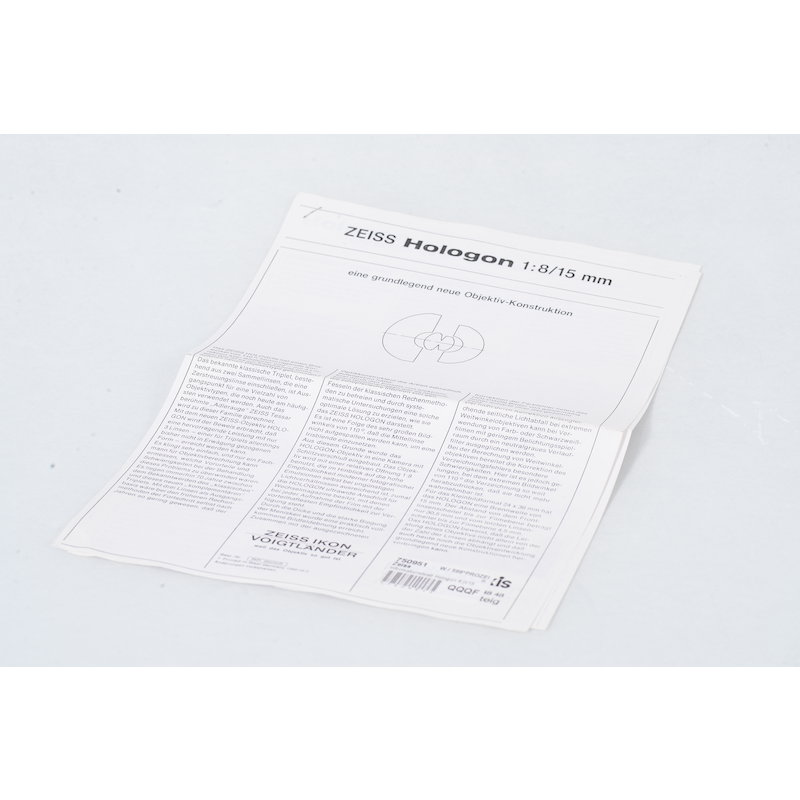 Zeiss Informationsblatt Hologon 8,0/15