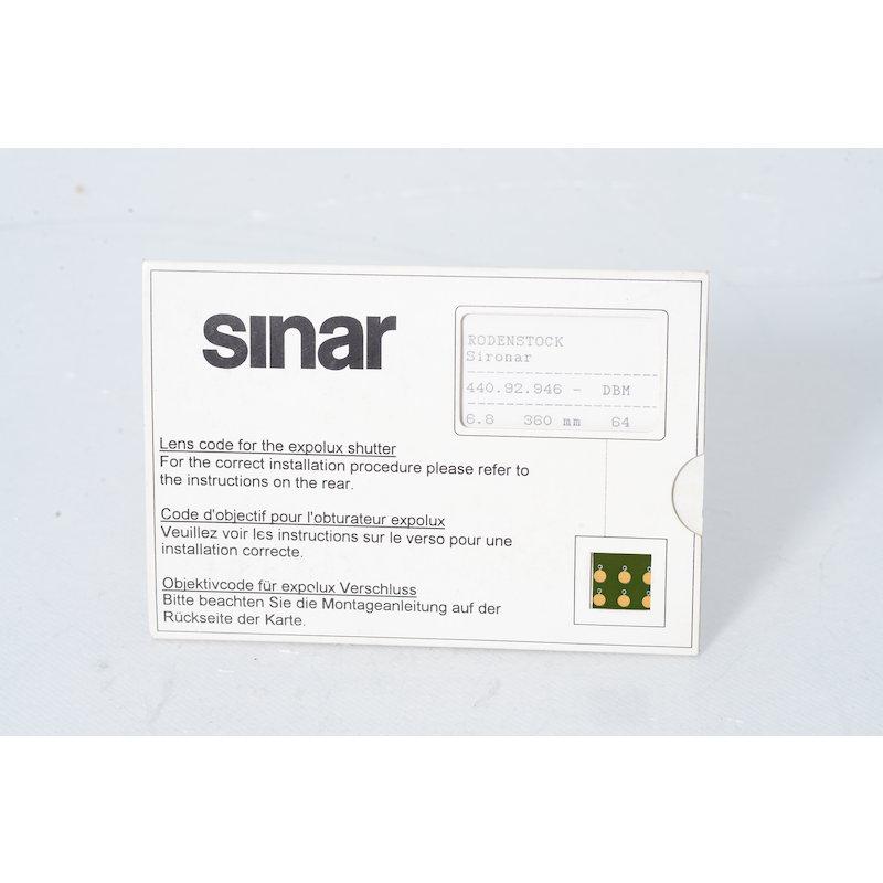 Sinar Objektivcode Sironar 6,8/360 für Epolux Verschluß
