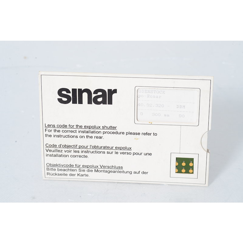 Sinar Objektivcode Apo-Ronar 9,0/300 für Epolux Verschlu