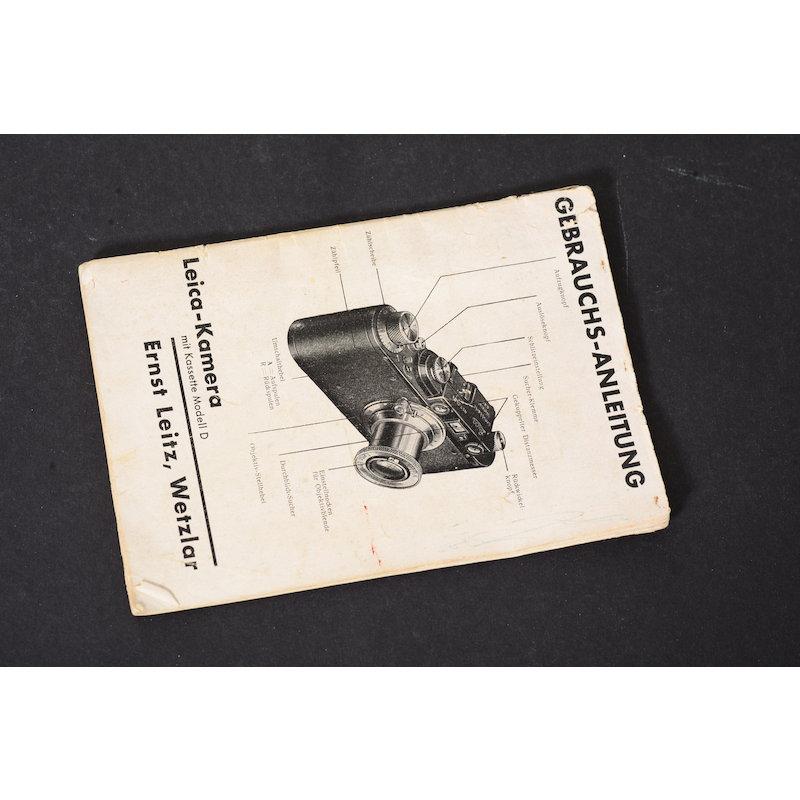 Leitz Anleitung Leica Kamera mit Kassette Model D