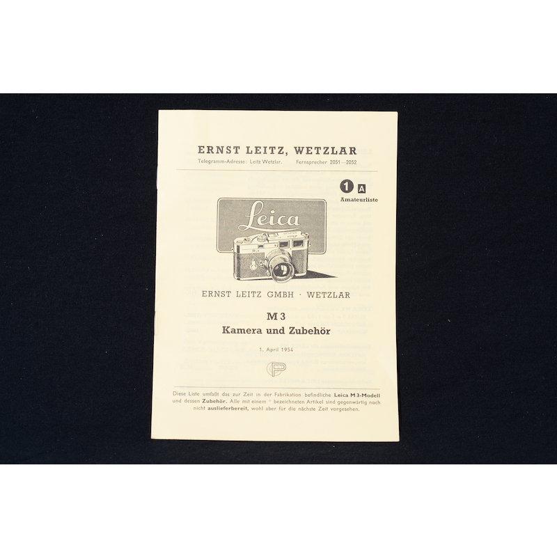 Leica Preisliste M3 Kamera und Zubehör 01.04.1954
