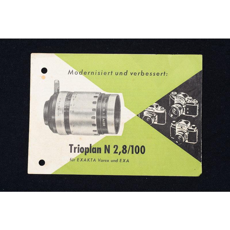 Zeiss-Jena Prospekt Modernisiert und verbessert: Trioplan N 2