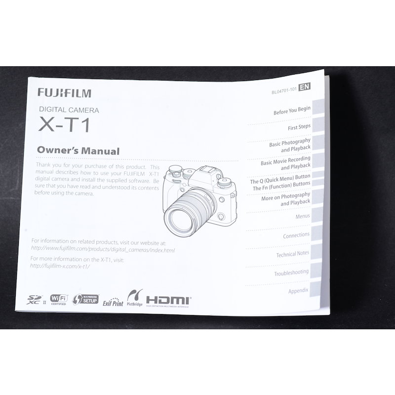 Fujifilm Anleitung XT-1 (Englisch)