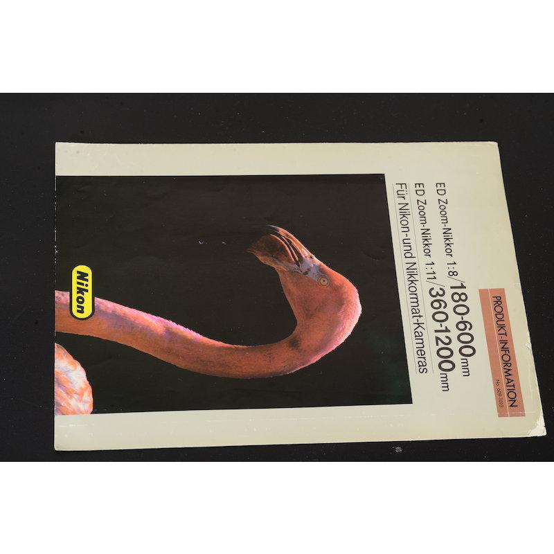 Nikon Produktinformation AI 8,0/180-600 ED+AI 11,0/360-1200