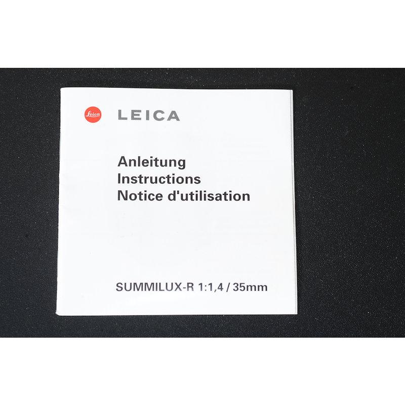 Leica Anleitung Summilux-R 1,4/35
