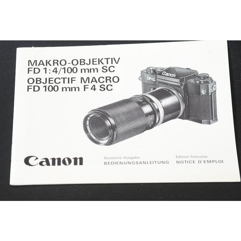 Canon Anleitung FD 4,0/100 Makro (Deutsch/Französisch)