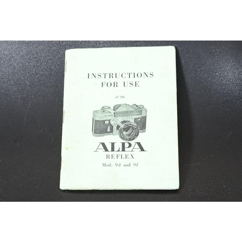 Alpa Anleitung Mod. 9d/9f (Englisch)