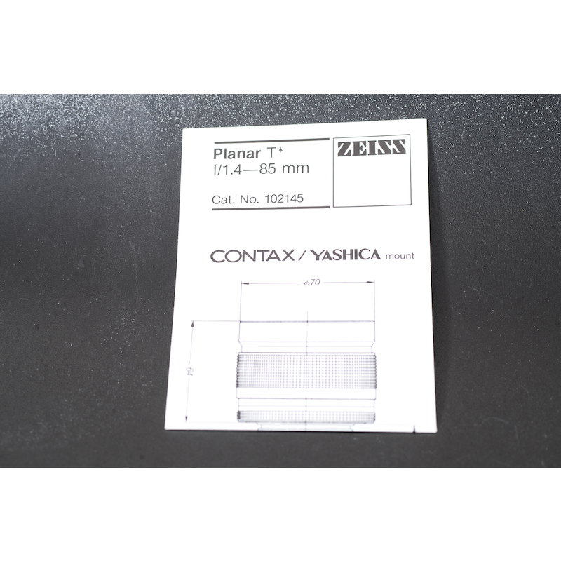 Contax Datenblatt Planar 1,4/85 T*
