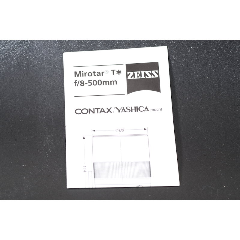 Contax Datenblatt Mirotar 8,0/500 T*