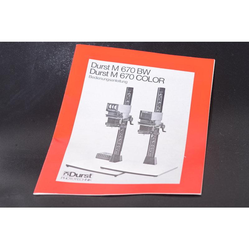 Durst Anleitung Vergrößerer M-670 BW/M-670 Color