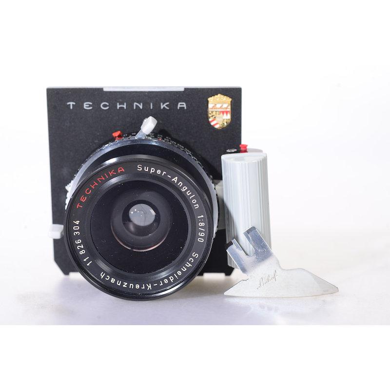 Schneider Super-Angulon 8,0/90 Compur Electronic 1+Linhof 96x99 Objektivplatte